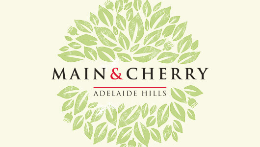 main and cherry wine label design
