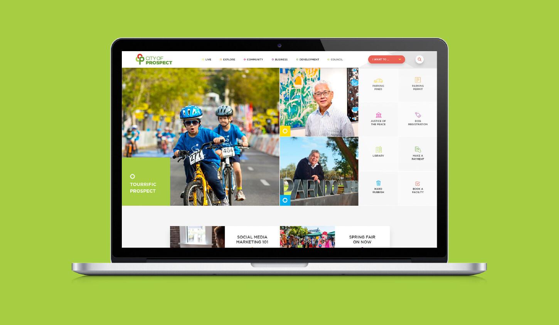 city of prospect website displayed on laptop